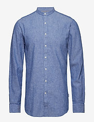 Lindbergh - Linen shirt L/S - puuvillapaidat - blue - 1