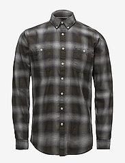 Lindbergh - Herringbone check shirt - checkered shirts - black - 0