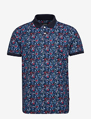 Lindbergh - AOP floral polo S/S - short-sleeved polos - dk blue - 0