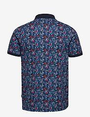 Lindbergh - AOP floral polo S/S - short-sleeved polos - dk blue - 1