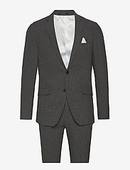 Lindbergh - Seersucker checked suit - single breasted suits - grey check - 0