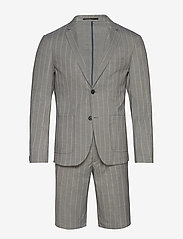 Lindbergh - Striped suit w/shorts - casual shorts - grey - 0