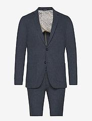 Lindbergh - Cotton linen suit - yksiriviset puvut - dk blue mix - 0