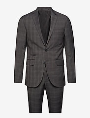 Lindbergh - Checked mens suit - enkeltkneppede dresser - grey check - 0