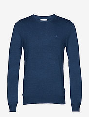Lindbergh - Mélange round neck knit - perusneuleet - mid blue mel - 1
