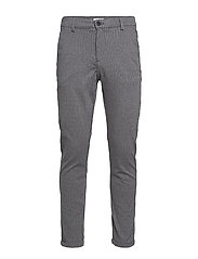 Chino pants with elastic waist - DK GREY MIX