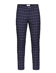 Club pants checked - DK BLUE