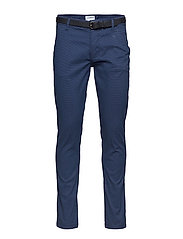 AOP chinos with belt - NAVY