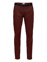 Classic stretch chino W. belt - BORDEAUX