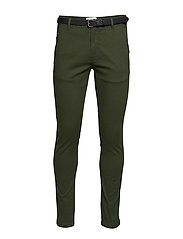 Classic stretch chino W. belt - BOTTLE GREEN
