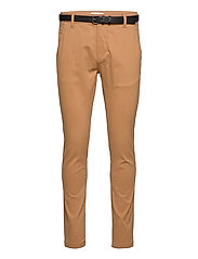 Classic stretch chino W. belt - CAMEL
