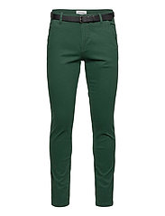 Classic stretch chino W. belt - DEEP GREEN