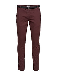 Classic stretch chino W. belt - DK BORDEAUX