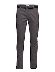 Classic stretch chino W. belt - DK GREY