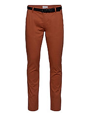 Classic stretch chino W. belt - DUSTY ORANGE