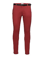 Classic stretch chino W. belt - DUSTY RED