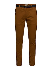 Classic stretch chino W. belt - LT BROWN