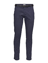 Classic stretch chino W. belt - NAVY