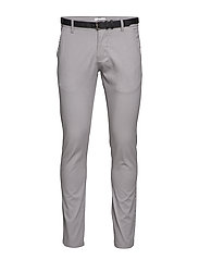 Classic stretch chino W. belt - SILVER