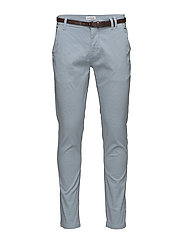 AOP chino pant w. belt - LT BLUE