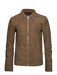 Suede leather jacket - BROWN