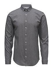 Mouliné stretch shirt L/S - BLACK