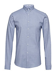 Mouliné stretch shirt L/S - LT BLUE