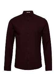 Mouliné stretch shirt L/S - LT BORDEAUX