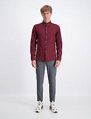 Lindbergh - Mouliné stretch shirt L/S - peruspaitoja - lt bordeaux - 0