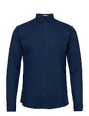 Mouliné stretch shirt L/S - NAVY