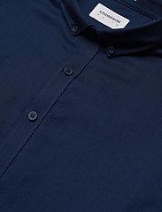 Lindbergh - Mouliné stretch shirt L/S - peruspaitoja - navy - 3