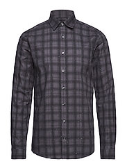 Checked slub shirt L/S - GREY