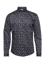 Printed shirt L/S - BLACK