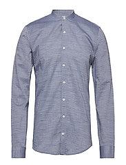 Shirt w. collar band L/S - NAVY