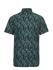 AOP chambray shirt S/S - BLUE