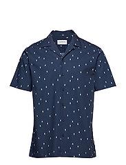 Printed resort shirt S/S - DARK BLUE