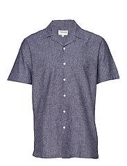 Linen cotton resort shirt S/S - DARK BLUE