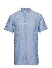 Structure mandarin shirt S/S - BLUE
