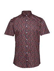 Floral print shirt S/S - RED