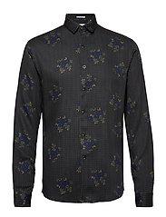 Floral viscose print shirt L/S - BROWN