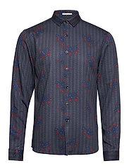 Floral viscose print shirt L/S - DK BLUE