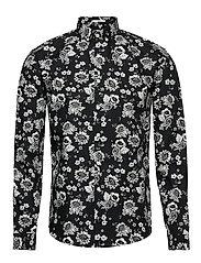 Floral print shirt L/S - BLACK