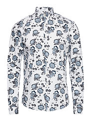 Floral print shirt L/S - WHITE