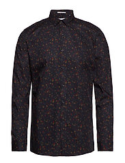 Ditsy floral print shirt L/S - DK BLUE