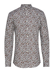 Ditsy floral print shirt L/S - WHITE