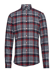 Checked flannel shirt L/S - DK RED