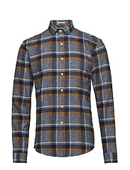 Checked flannel shirt L/S - LT BROWN