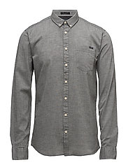 Mélange one pocket shirt L/S - GREY MEL
