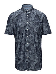 Indigo pattern shirt S/S - BLUE