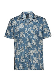 Hawaiian printed S/S shirt - LIGHT BLUE